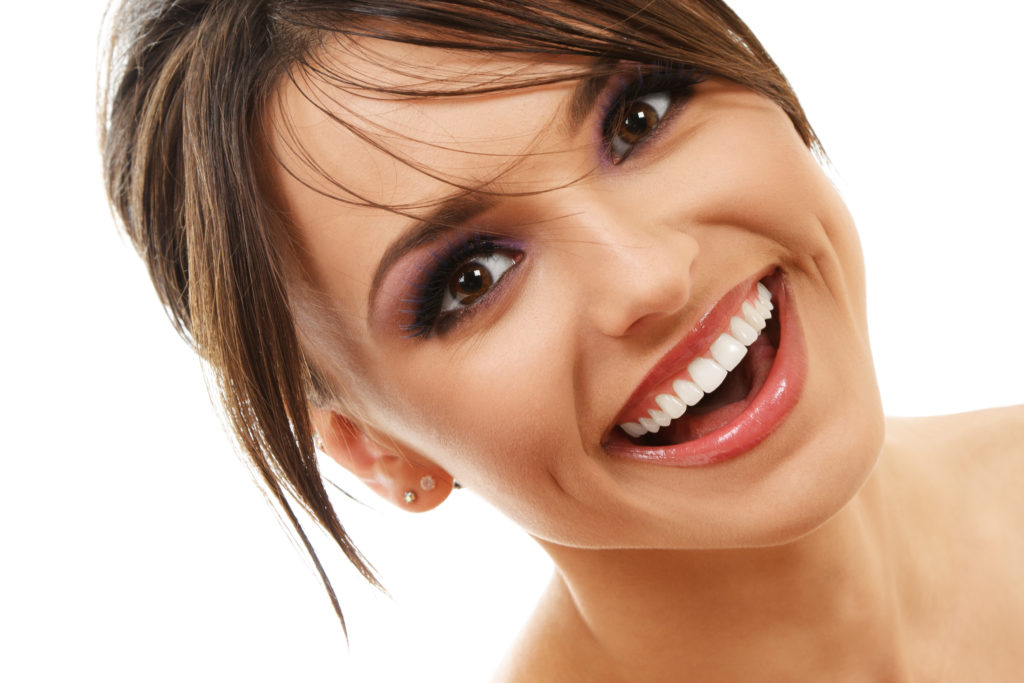 attractive woman brunette perfect teeth